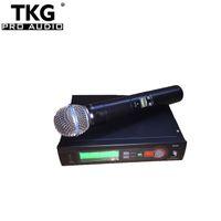micrófono inalámbrico de calidad al por mayor-2018 mejor calidad profesional enseñar uhf china 572-820 mhz karaoke micrófono inalámbrico de mano micrófono SLX14 SLX4 SLX SLX24 58a micrófono
