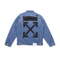 avrupa ceketleri baskılı toptan satış-Kadın Denim Ceket Avrupa ve Amerikan Gelgit Marka BEYAZ Saf Pamuk Ok Baskı Tek Toka Yaka Moda Trim Denim Ceket