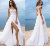 Wholesale wedding dresses plus sides for sale - Group buy 2020 Summer Beach Bohemian Wedding Dresses A Line Chiffon Sheer Neck Lace Appliques Side Split Illusion Hollow Back Plus Size Bridal Gowns