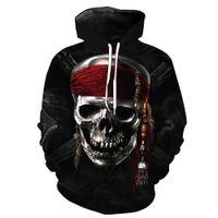 schädel hoodies männer groihandel-NEUE ANKUNFT EuropeStyle Skull Pirate Print Tasche Casual Hoodie für junge Männer Designer Hoodies Fashion Hipster Men Sweatshirt