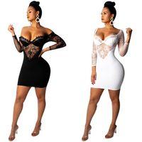 moda bayan dantel toptan satış-Kış Kadın Elbiseler Düzensiz Örgü V Yaka Dantel Yüksek Bel Lady Moda Casual Seksi Bodycon Bandaj Kulübü Gece Mini Elbise