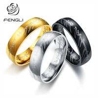 schwarze stahlmagie großhandel-Fengli edelstahl magic ring für frauen männer shiny charm fingerringe titanium schwarz senhor dos aneis