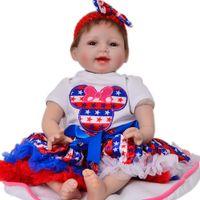 oyuncaklara bak toptan satış-Bebe boneca reborn silikon bebekler 22 inç 55 cm sevimli Kız yenidoğan bebek canlı bebekler oyuncaklar hediye yumuşak vücut ...