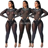 822010e82fc2 Diamond and Pearl Sheer Mesh Jumpsuit Women Sexy Long Sleeve Night Club  Party Romper Female Sheath Outfits Plus Size XL