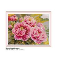 красивые розовые кресты оптовых-Красивый Розовый Пион Подсчитано Отпечатано На Ткани DMC 14CT 11CT Aida Наборы для Вышивки Крестом DIY Вышивка Рукоделие Наборы Home Decor