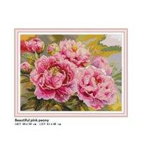 schöne rosa kreuze großhandel-Schöne Rosa Pfingstrose Gezählt Gedruckt auf Stoff DMC 14CT 11CT Aida Kreuzstich kits DIY Stickerei Hand Sets Wohnkultur