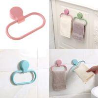 anillos de toalla de plástico al por mayor-360 grados giratoria de plástico cubierta de toallas de baño Toallas Suministros Anillos color puro del palillo firmemente soporte 2 6XY Ww