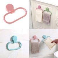 ingrosso anelli di tovagliolo di plastica-Gli asciugamani dell'interno degli accessori del bagno dello scaffale di tovagliolo di plastica girevole di 360 gradi suona il bastone di colore puro Supporto saldamente 2 6xy Ww