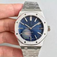 часы из нержавеющей стали оптовых-2019 Горячие Продажа мужские Часы Для Мужчин Автоматическое движение Синий циферблат ROYAL OAK серия мужские часы 15400 Нержавеющая Сталь мужские часы