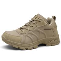 couro casaco homens esporte venda por atacado-Esportes ao ar livre Camping Sapatos para Homens Tático Caminhadas Sapatos de Couro Botas de Revestimento À Prova D 'Água Homem de Combate Do Exército