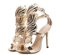 yaprak topuklu toptan satış-Kadın sandalet Seksi çıplak ayak moda marka seksi İnce yüksek topuk Hakiki Deri Altın yaprak kanatları Rahat kadın Top parti topuk Sandalet