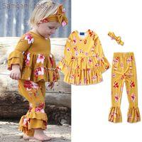 venda amarilla niños de flores al por mayor-3pcs establece niños bebés niñas amarillo princesa floral establece ropa niños dulce manga larga flare flor impreso trajes trajes conjunto (pant + diadema)