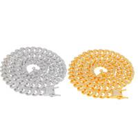 ingrosso strass 13mm-13mm Miami Cuban Link Chain Collana in argento oro ghiacciato con strass di cristallo Bling Hip hop per collane di gioielli da uomo