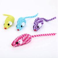 кошачья шерсть цвет оптовых-Creative Pet Toys Random Color Interactive Rabbit Fur False Mouse Pet Cat Toys Mini Funny Playing For Cats Kitten Toy