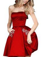 a8b4224b893 2019 красное платье без бретелек A-Line Homecoming без рукавов  плиссированные короткие мини-коктейльное платье для выпускного вечера с 2  карманами из бисера