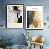arte de la pared de oro negro al por mayor-Nordic Modern abstract Art Gold Black Canvas Paintings Vintage Wall Kraft Posters Coated Wall Stickers Decoración para el hogar Regalo
