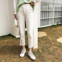 bayan denim yıkanmış pantolon toptan satış-2019 Yeni Yüksek Bel Kadın Kravat Kot Moda Bayanlar Yüksek ElasticAP1486-AP1490 Kot Erkek Arkadaşı Yıkanmış Denim Sıkı Kalem Pantolon