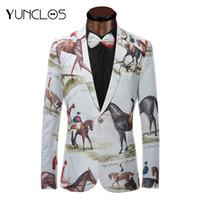 тонкие носовые галстуки оптовых-YUNCLOS  New Blazer Men Riding Horse 3D Print Suit Jacket Slim Fit Casual Stage Wear Fashion Men Bow Tie Blazers Plus Size
