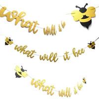 ingrosso bandiere di compleanno trasporto libero-Addio al nubilato Honeybee Birthday Party Flag Pulling Felt Nonwovens Natale San Valentino Decorazione Banner Bandiera Spedizione Gratuita 9 1hn A