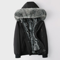 winter shearling jacket fox fur hooded mens short real fur coat Parkas snow wear thick warm windbreaker outerwear overcoat plus size 5XL