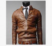 chaqueta de cremallera de la motocicleta al por mayor-Chaquetas de diseñador de los hombres de cuero de la motocicleta para hombre delgado abrigos con cremallera Hombre prendas de abrigo Stand Chaquetas Moda Casual Chaqueta negra