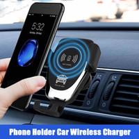 base iphone china al por mayor-10W Cargador inalámbrico para automóvil rápido Clips de ventilación para aire acondicionado Soporte para teléfono Inducción automática Cargador inalámbrico para coche Qi para iPhone Samsung Huawei
