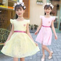 Sleeveless Pink Regular 2019 Casual Solid Knee-length Children Clothes  Cotton Kids Dress For Girl Summer Girls Dresses Ds724 dba96dafb375