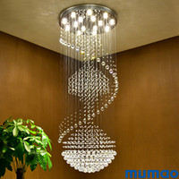 Wholesale modern large pendant light fixture for sale - Group buy Luxury Modern Chandelier Large Big Stair Long Spiral Crystal Chandeliers LED Lighting Fixture for Staircase Drop Pendant Light Lamp