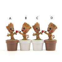 guardiões filme galáxia venda por atacado-Guardiões da Galáxia resina Brinquedos Boneca 2019 Novo filme Dos Desenhos Animados Action Figure Pequeno Groot flowerpot Brinquedos kid Presente B