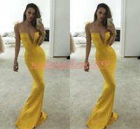 Wholesale pageant dress designers resale online - Simple Designer Yellow Mermaid Evening Dresses Spaghetti Straps Plus Size Long Party Prom Gown Pageant Arabic Formal Guest Robe De Soiree