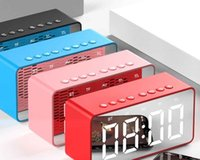 Wholesale mp3 player alarm clock for sale - Group buy BT506 Speaker with clock alarm clock Super Bass Subwoofer Stereo Wireless Bluetooth speaker mini mirror subwoofer sound for Phone Computer