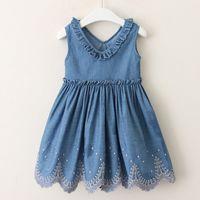 f983461ea Baby girls denim dress summer girl casual auricular V-neck hem flower jeans  waistcoat skirt kids boutiques clothing