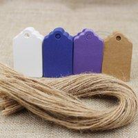etiquetas blancas en blanco al por mayor-5 * 3 cm DIY blanco / marrón / púrpura / azul color blanco etiqueta en blanco 100 unids + 100 unids cadena para Regalo Craft Equipaje Precio Etiquetas colgantes