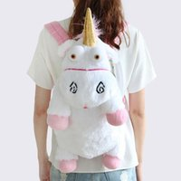 Wholesale fluffy unicorn plush for sale - Group buy 2018 New Fluffy Unicorn Plush Backpacks Cartoon Animal Soft Stuffed Plush Backpack Bag For teenager School bags Children Gift