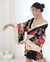 japanische kimono sexy dessous großhandel-Persönlichkeit sexy Dessous tief V gedruckt japanische Kimono Kleid Uniform Versuchung Dessous NB-1144