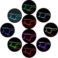 Wholesale el wire pc for sale - Group buy LED Flashing Glasses colors EL Wire LED Glasses Glowing Party Supplies Lighting Novelty Gift Bright Light Festival Party Glow Sun glasses