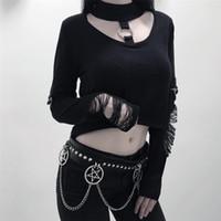 Wholesale chain link belts for women resale online - Pentag Pentagram Chain Stitching Rivet Belt Women PU Punk Gothic Chain Link Metal Strap Fashion Belt Female Black Best for women