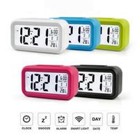 большие светодиодные часы оптовых-Electronic LED Alarm Digital Big LED Screen Clock Electric Desktop Clock Data Time Calendar Desk Watch Table Clocks