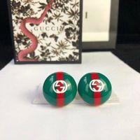 ingrosso fascino blu smalto-Top Marca orecchino rotondo smalto verde e rosso blu e bianco orecchino Orecchino oro 18k stile gioielli regalo donna placcato PS7423