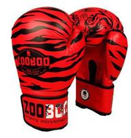 soco de luta venda por atacado-Atacado-10Oz Zooboo Pu Couro Tigre Imprimir Luvas De Boxe Mma Gêmeas Luta Luvas De Perfuração Kick Muay Thai Ginásio Treinamento De Boxe Engrenagem