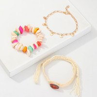 Wholesale designs friendship bracelets for sale - Group buy 201908 New Design Minimalist Fashion Creative Silk Screen Shell Color Hand Woven Bracelets Friendship Bracelet Christmas Gift Set M507A