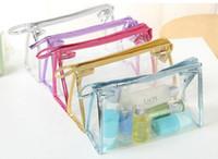 bolsas de cosmeticos 24 al por mayor-6 colores 24 * 7.5 * 15 cm Transparente A Prueba de agua Bolsas de Cosméticos Para Mujer Diariamente Transparente Estuche de Maquillaje de Viaje Aseo Bolsa de Lavado
