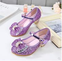 ingrosso scarpe scintillanti rosa per bambini-NOVITÀ Scarpe da bambina Glitter Princess Sandali con tacchi alti Rosa Danza Matrimoni Kids Fashion Butterfly Crystal Party Shoes