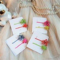 ingrosso stelle dei capelli accessori-AOMU 1SET Corea Chic Candy Colore Hollow Pentagram Star Hair Clip per le donne Ragazze compleanno Barrettes Accessori per capelli