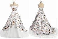 país acima venda por atacado-Branco camo país vestidos de noiva 2019 moderno strapless lace-up espartilho volta realtree camuflagem boho praia vestido de noiva de noiva
