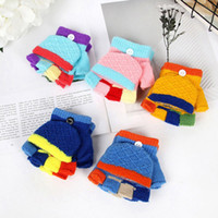 Wholesale warm half finger gloves resale online - Kids Knitted Half Fingers Flip Gloves Baby Boys Girls Winter Warm Gloves Patchwork Colored Mittens for Gift HHA576