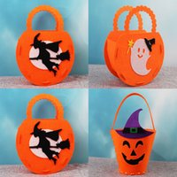 Wholesale kids toys candy resale online - Halloween DIY Pumpkin Bags Trick or Treat Candy Bags Party Gift Boxes Non woven Small Ghost Cat Pattern Bag Kids Gift Toys MLE425
