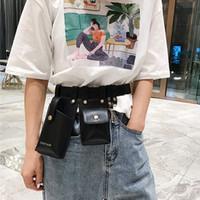 Wholesale fanny pouch resale online - Waist Belt Bag Women Fanny Packs Fashion Leather Phone Pouch Punk Waist Bag Belt Female Purse Packs