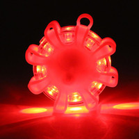 Wholesale car truck red online - Mini LED Emergency Safety Flare Red Road Flare Magnetic Flashing Warning Night Lights Roadside Disc Beacon For Car Truck Boat