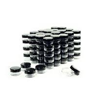 kosmetikgläser schwarze deckel großhandel-Kosmetikbehälter Probengläser mit schwarzen Deckeln Kunststoff-Make-up-Musterbehälter BPA-freie Topfgläser 3g 5g 10g 15g 20 Gramm